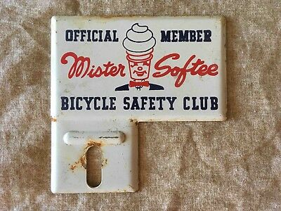 Old Official Member Mister Softee Bicycle Safety Club Bicycle Rack Tag Topper