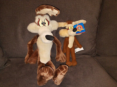 1994 WARNER BROS. LOONY TUNES POSEABLE WILE E. COYOTE 21 inch PLUSH TOY + 1997