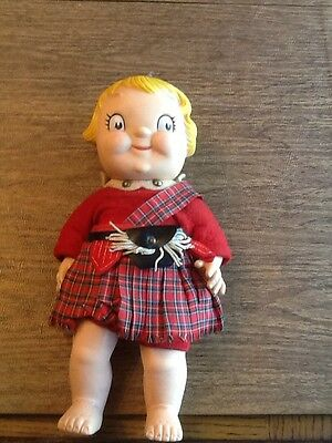 VINTAGE CAMPBELL SOUP KID. hard plastic 10 inch in scotish outfit