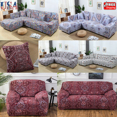 1-4 Seater Elastic Sofa Cover Slipcover Couch Stretch Arm Chair Loveseat Home US