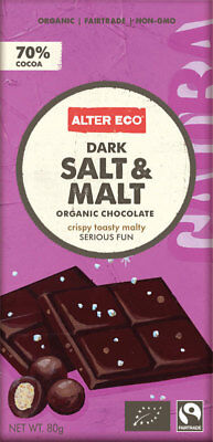 Organic Chocolate - Dark Salt & Malt 80g - Alter Eco