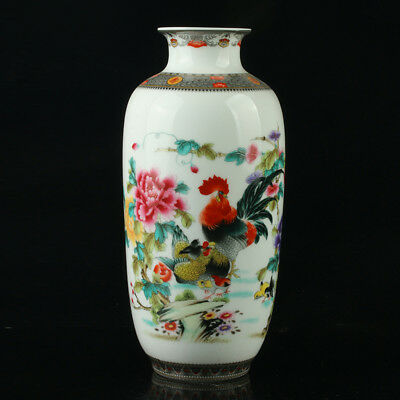 Chinese Porcelain Hand-Painted Chicken & Peony Vase Mark As The Qianlong Period