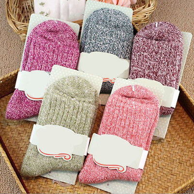 5 Pairs Women Wool Cashmere Thick Warm Casual Sports Socks Winter New Novelty