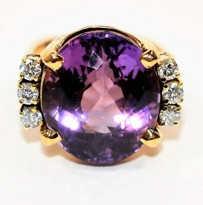 Supreme Best Color 20.21tcw Siberian Amethyst & Diamond 14kt Yellow Gold Ring