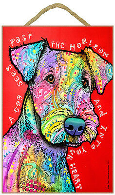 Airedale A Dog Sees Past The Horizon And Into Dog Dean Russo Wood Plaque Sign