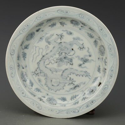 China antique Porcelain qing blue & white hand made dragon pattern plate P4