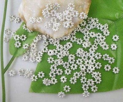 1000pcs Silver Plated Daisy Spacers Beads 4mm C308SP