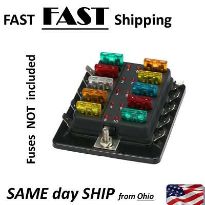 Auto Fuse Panel - SMART blow indicator technology - 10 gang - 10 fuses panel 12V