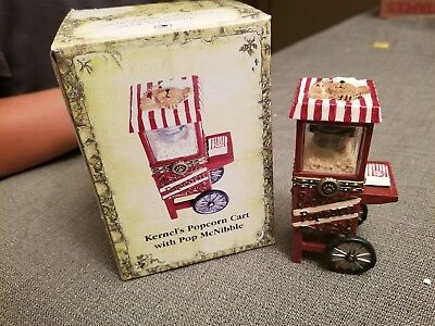 Boyds Bears Treasure Box Kernel's Popcorn Cart w / Pop McNibble