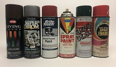 Lot Vintage Spray Paint Cans Zynolyte Growco Brite Touch High Gloss Kmart Krylon