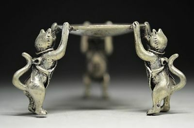 Chinese Collectable Bronze Hand Carved Three Cats Writing-Brush Washer