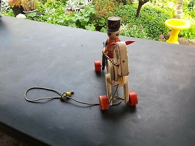 Vintage 1940s Wood Horse and Soldier Pull Toy Click-Clack Working needs TLC