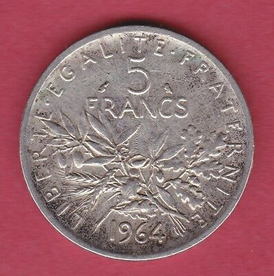 R* France 5 Francs Silver 1964 Semeuse Xf+ Details Patina