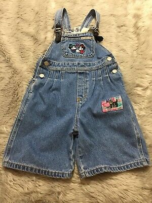 Vintage VTG Mickey Inc. Embroidered 100% Cotton Mickey Mouse Overalls Shorts-6