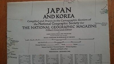 Vintage National Geographic 1945 Map of Japan and Korea
