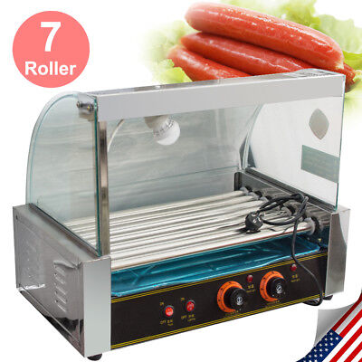 Commercial 18 Hot Dog Hotdog 7 Roller Grill Cooker W/ Cover Stainless Steel Tray