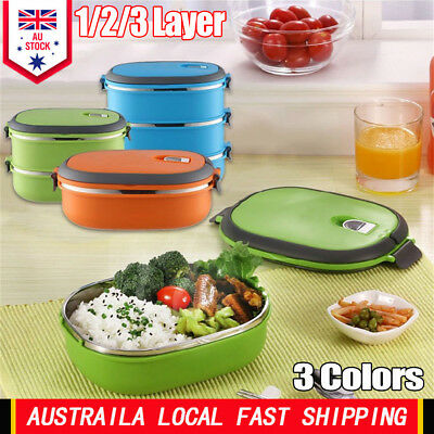 1/2/3 Layer Stainless Steel Insulated Bento Food Storage Container Lunch Box AU