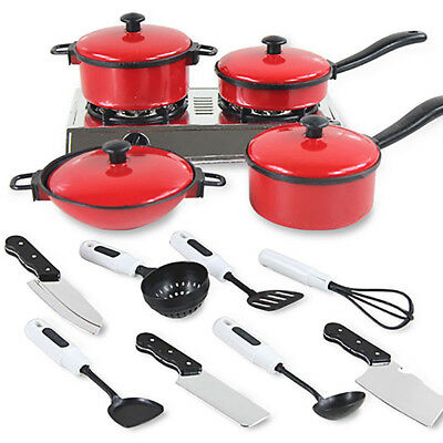 Kids Play Toy Kitchen House Cooking Food Utensils Pots Pans Dishes Cookware Kit