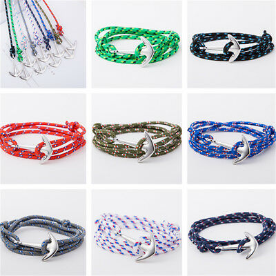 Anchor Hook Rope Multilayer Bracelet Wristband Men Nautical Wrap Around Bangle
