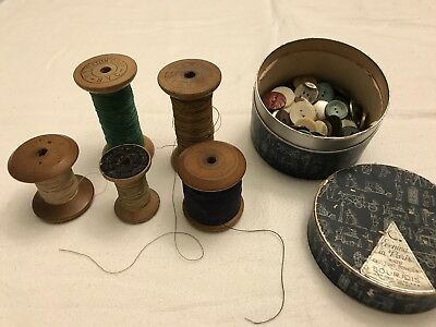 Vtg Antique Wooden Spools Thread Lot Pollack& Co.INC, U.S. Rayon Corp. N.Y.C