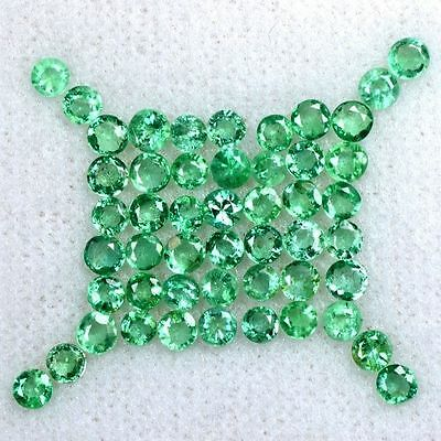 3.34 Cts Natural Top Green Emerald Round Cut Lot Zambia 2 up to 2.5 mm Gemstone