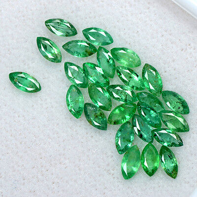 3.49 Cts Natural Emerald Loose Gemstone 26 Pcs Marquise Cut 5x2.5 mm Lot Zambia