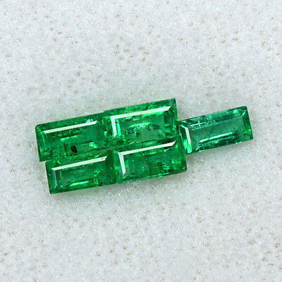 1.35 Cts Natural Emerald Loose Gemstone 5x2.5 mm Baguette Cut 5 Pcs Lot Zambia $