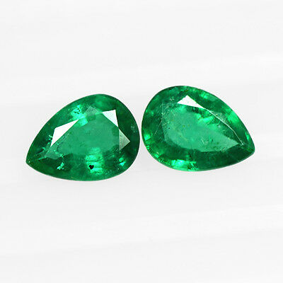 1.36 Cts Natural Top Green Emerald Pear Cut Pair Loose Zambia Untreated 7x5 mm $