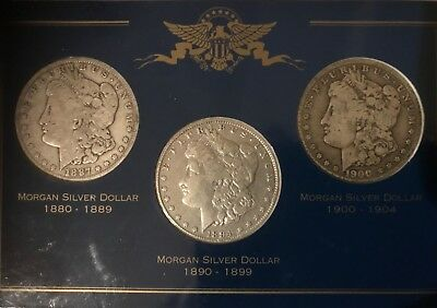 "morgan silver dollar  ""O"" mint 1887 - 1900 3 coin set"
