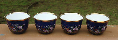Vintage Asian Oriental Sake Cups / Dipping Sauce Bowls x 4 *Gold Floral Peacocks