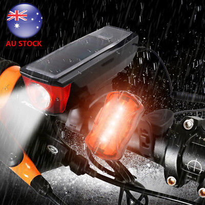 5000LM 2X XML T6 USB Rechargeable LED Bike Front Headlight Rear Tail Light Set