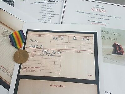 WW1 Victory Medal L/Cpl Deal 2nd Bedfordshire Reg, Died 1918, Halsted, Essex Man