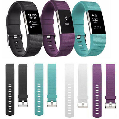 For Fitbit Charge 2 Silicone Watchband Wristband Strap Bracelet Buckle Sport