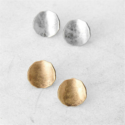 Women Vintage Silver Gold Geometric Round Circle Stud Earrings Simple Jewelry