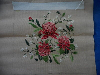 Waratah Flowers Tapestry Canvas Started Needs Finish