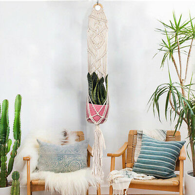 "37"" Macrame Pot Holder Plant Hanging Planter Basket Braided Jute Rope Hanger"