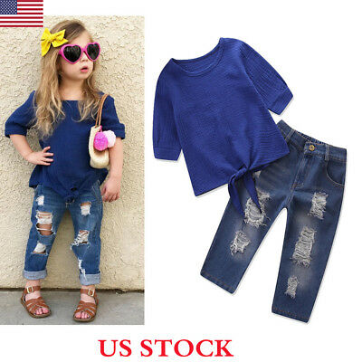 2PCS Kids Toddler Baby Girls Tops T-shirt+Hole Jeans Denim Long Pants Outfits US