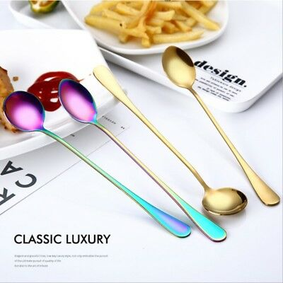 Stainless Steel Long Handle Ice Cream Cocktail Teaspoons Coffee Soup Tea Spoons