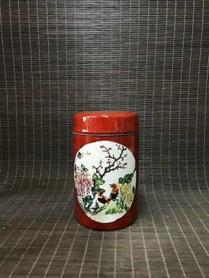 China red glaze porcelain *Flower and birds* Tea Caddy/Pot