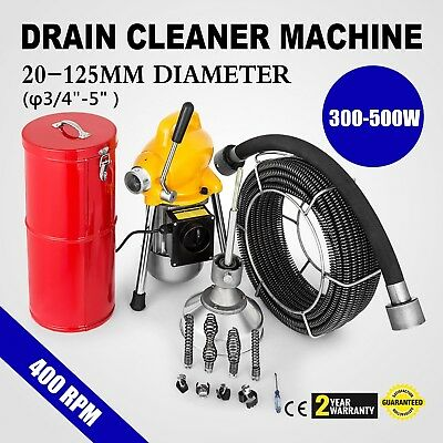 """3/4"""" - 5"""" Ø Pipe Drain Cleaner Machine Cleaning 400rpm Flexible Toilet"""