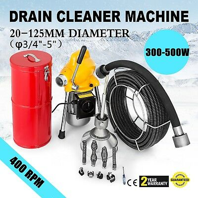 """3/4"""" - 5""""Ø Pipe Drain Cleaner Machine Cleaning Max Length 99ft 400rpm Sewer"""