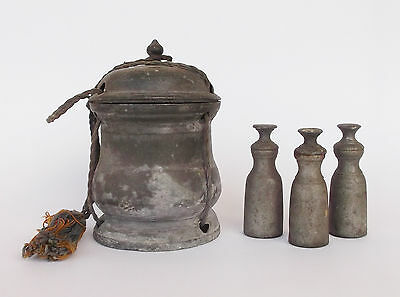 Rare Antique Portuguese 17Th/18Th Century Pewter Holy Oils Box
