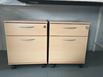 Filing Cabinet 2 Drawers Lockable Desk Height Storage Cupboard Unit Office Home