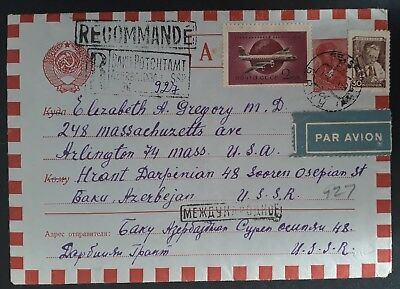 RARE 1960 Soviet Union Registered Airmail Cover ties 3 stamps cancelled Baku