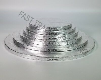 Cake Base Board Silver Drum Thick Strong Tray For Birthday Party Wedding