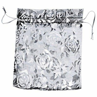 25pcs Black Rose Pattern Gift Bags Pouches Wedding Gift Favor,10cm x11.6cm N6B9