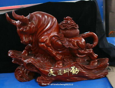 50cm Chinese Natural Red Jujube wood Handmade Animal cattle beast statue QIQO