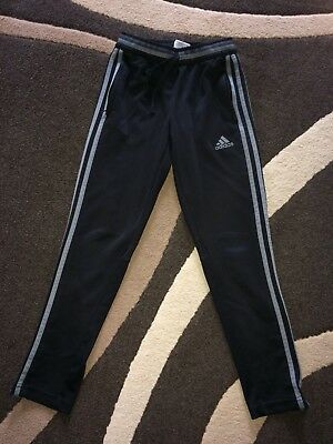 Adidas Aged 9-10 Years Black Tracksuit Bottoms Climacool