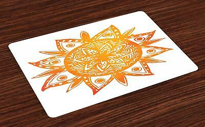 Warm Colors Placemats Set of 4 by Ambesonne Washable Fabric Place Mats