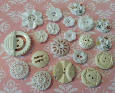 Job Lot Of Assorted Old/antique Plastic Buttons. White & Cream